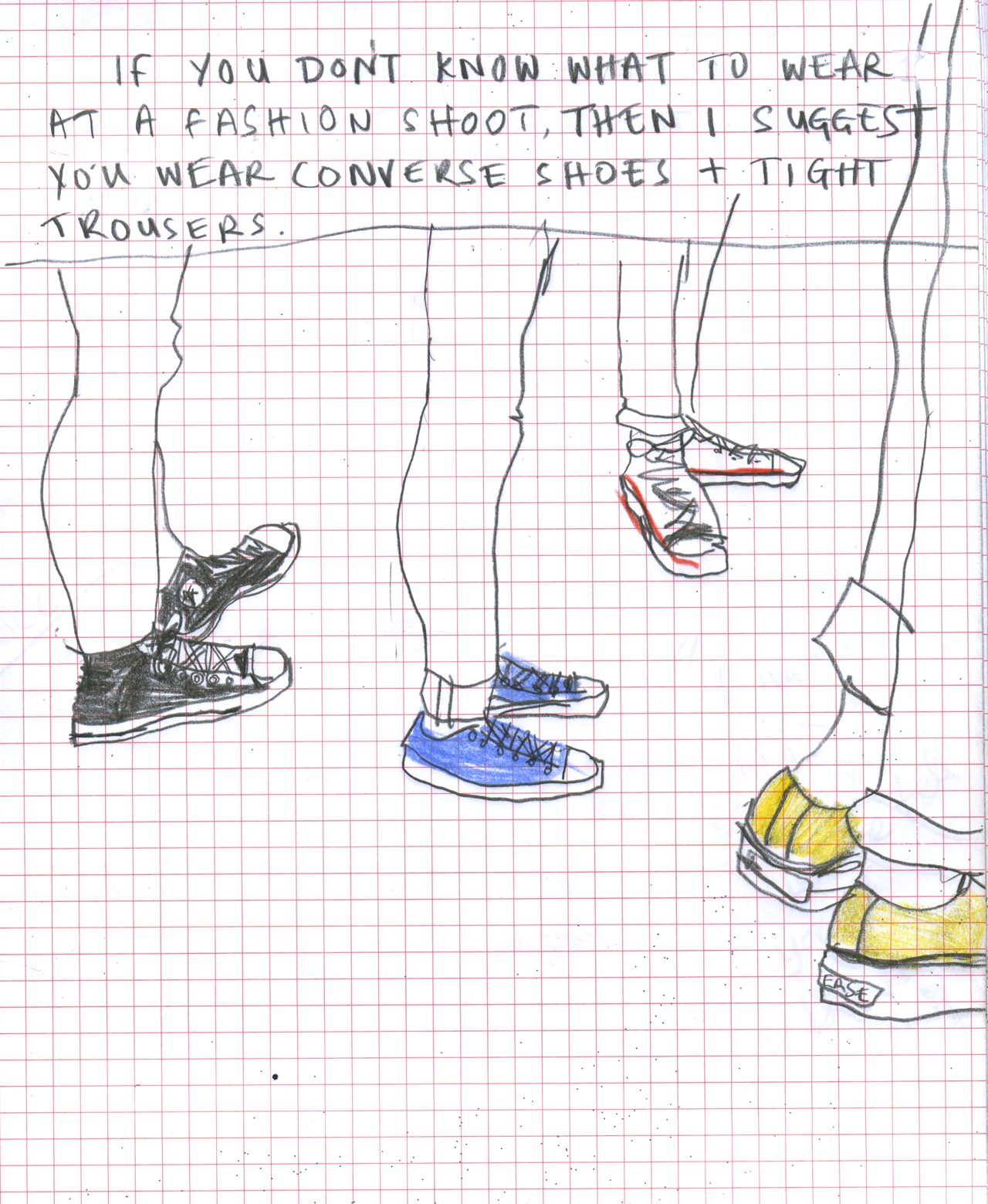 8 out of 10 people at a fashion shoot prefer to wear Converse