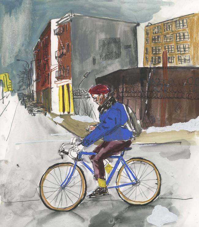 Cyclist on Phone