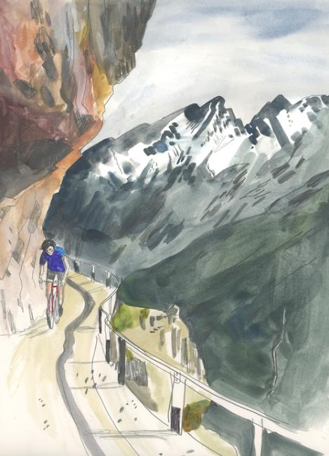 Cyclist on Mountain Path